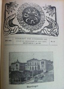 Norsk Kvinnesaksforenings første tidsskrift Nylænde markerer stemmerettsseieren i juli 1913. Tidsskriftets første redaktør var Gina Krog